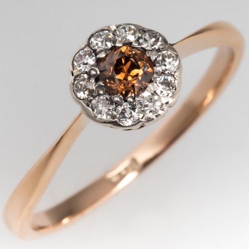 Vintage Fancy Brown Old Euro Diamond Halo Floral Engagement Ring 14K