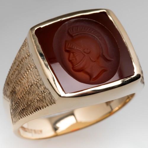 Mens Vintage Carnelian Intaglio Ring 14K Yellow Gold