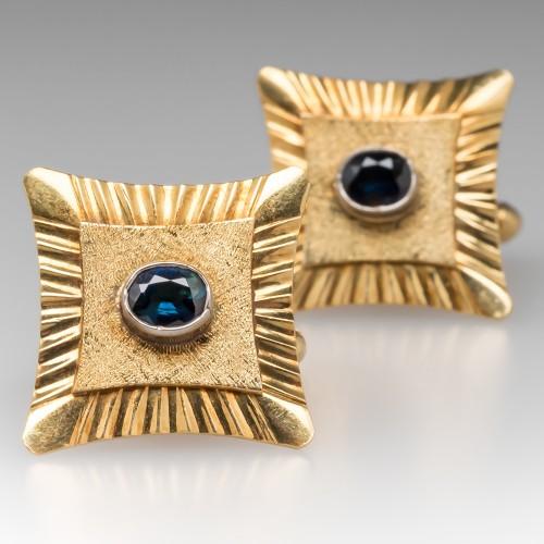 Vintage Mens Sapphire Retro Cufflinks 18K Yellow Gold