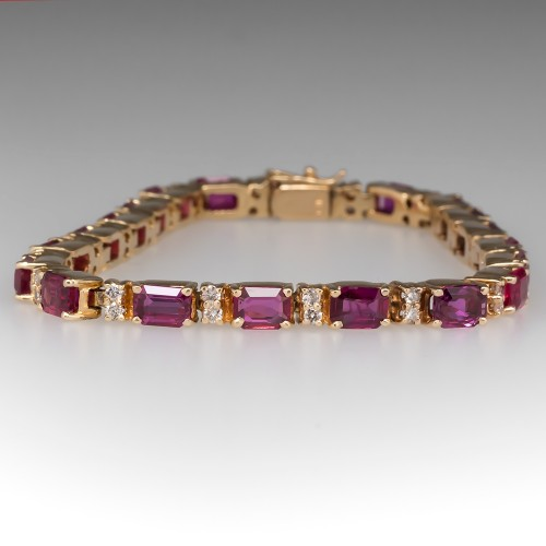 11 Carat Ruby & Diamond Vintage Tennis Bracelet 14K Gold 7.25-Inch