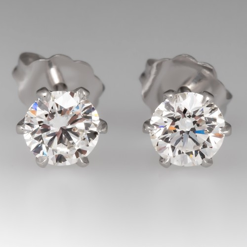GIA 1 Total Carat H/SI1 Diamond Stud Earrings 6-Prong Crowns