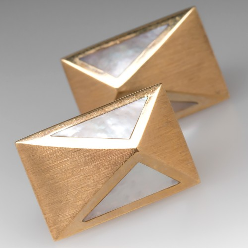 Mid Century Mother of Pearl Geometric Earrings 14K Gold