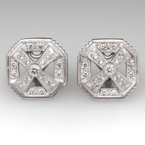 Doris Panos Diamond Huggie Earrings 18K White Gold