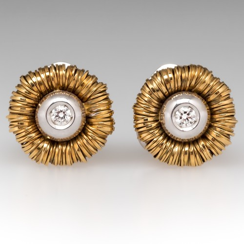 Orlando Orlandini Diamond Stud Earrings 18K White & Yellow Gold