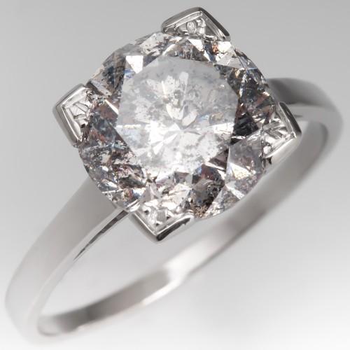 3 Carat Diamond Solitaire Engagement Ring Platinum 3.69CT F/I2