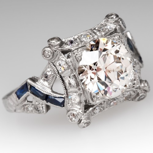Art Deco Engagement Ring Old Euro Diamond w/ Sapphires Platinum