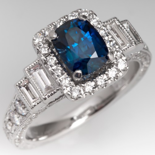 Neil Lane Blue Sapphire Engagement Ring w/ Diamonds 14K