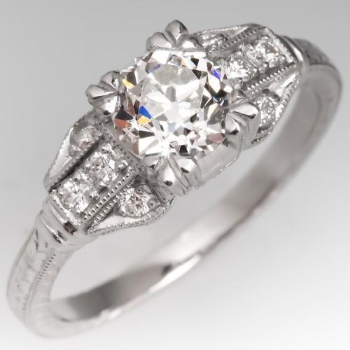 GIA I/SI1 Old Euro Diamond Engraved Engagement Ring Platinum