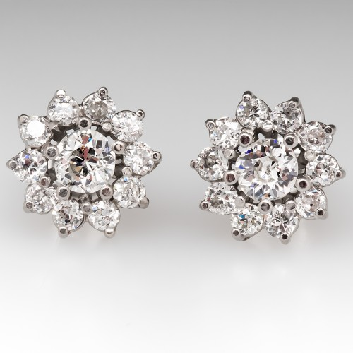 Vintage Floral Halo Diamond Stud Earrings in Platinum Medium Size