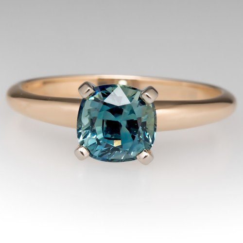 No Heat Icy Blue Green Sapphire Solitaire Engagement Ring 14K
