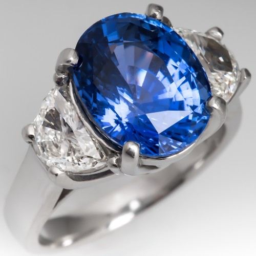 Natural No Heat Sri Lanka Origin Sapphire & Half Moon Diamond Ring Platinum AGL