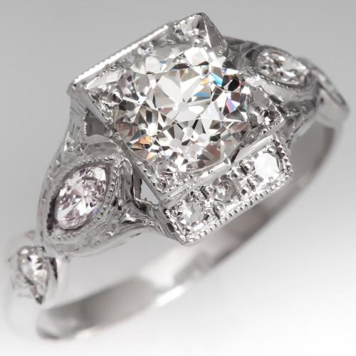GIA Old European Cut Diamond Vintage Engagement Ring