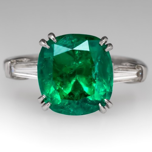 Magnificent 4.9 Carat Emerald Ring w/ Tapered Baguette Diamonds