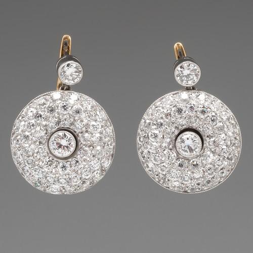 Vintage Old Euro Diamond Cluster Dangle Earrings Platinum