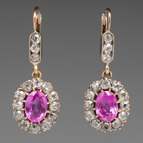 Pink Sapphire & Old Euro Diamond Antique Dangle Earrings 14K Gold