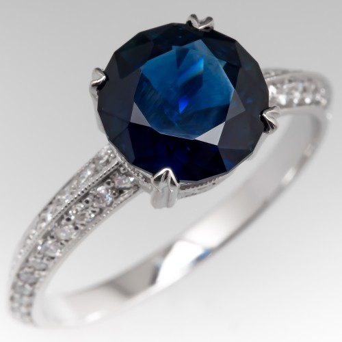 2.3 Carat No Heat Dark Blue Sapphire Engagement Ring Platinum
