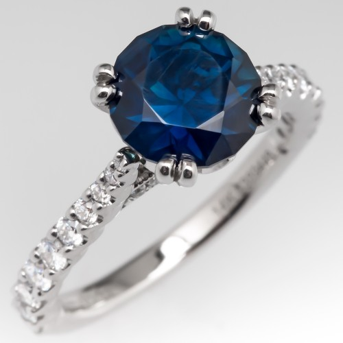 No Heat Rich Blue Green Sapphire Engagement Ring Amavida 14K
