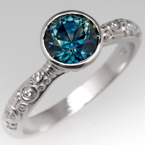 Alex Sepkus No Heat Blue Green Sapphire Bezel Engagement Ring Platinum