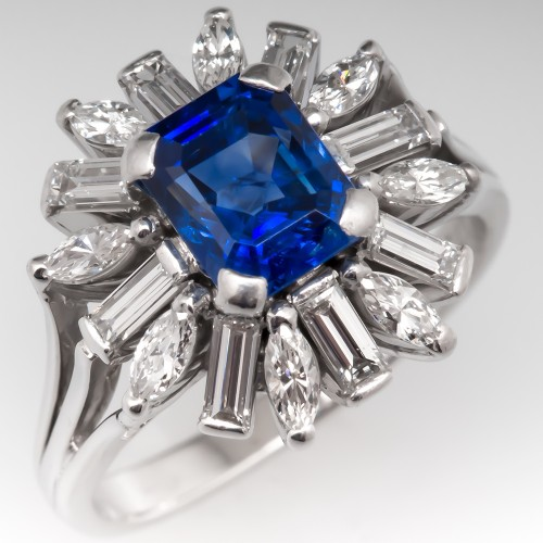 Vintage Blue Sapphire & Diamond Cluster Cocktail Ring 18K