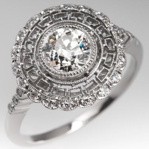 Old European Cut Diamond Halo Filigree Engagement Ring Platinum