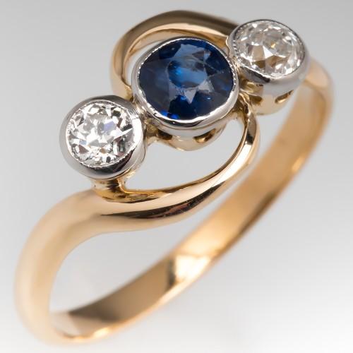 Vintage Three Stone Bypass Ring Sapphire & Old Euro Diamonds 18K