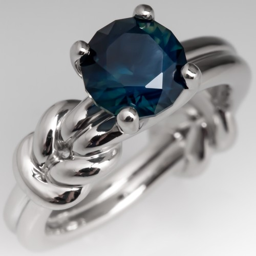 Platinum No Heat Dark Blue Green Sapphire Solitaire Ring Knot Design