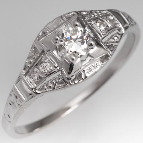 Vintage Filigree Engagement Ring Transitional Cut Diamond 14K White Gold