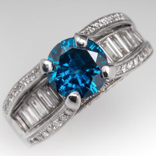 1.6 Carat Blue Diamond & White Diamond Wide Band Ring 18K