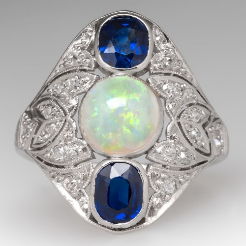 Art Deco Opal Sapphire & Diamond Filigree Platinum Ring