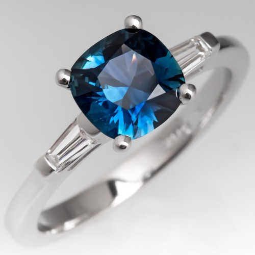 Rich Peacock Sapphire Engagement Ring w/ Tapered Baguettes 14K