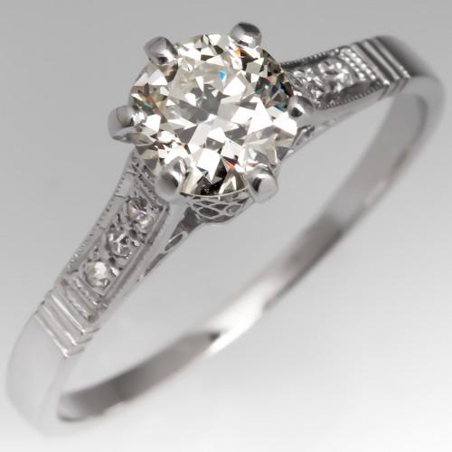3/4 Carat Old Euro Diamond Antique Engagement Ring Platinum