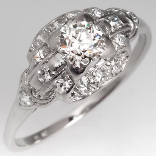 1930's Antique Engagement Ring Old European Cut Diamond Platinum