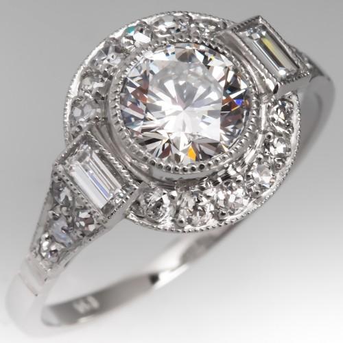 GIA E/SI1 1 Carat Diamond Vintage Engagement Ring Halo Platinum
