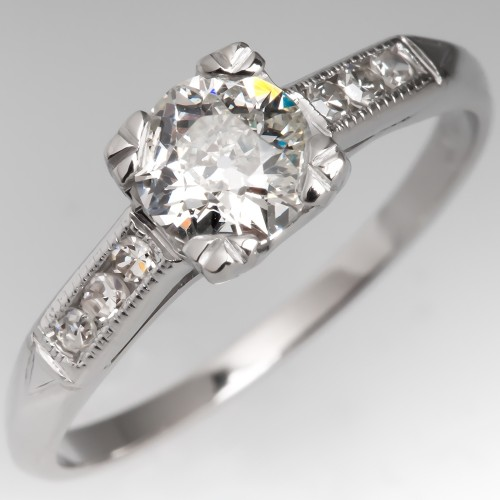 Antique Old Euro Cut Diamond Engagement Ring Timeless Design Platinum