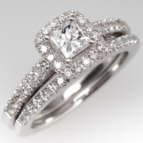 Princess Cut Diamond Halo Engagement Ring Wedding Set 14K