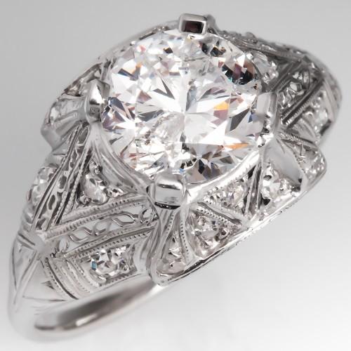 Vintage Diamond Filigree Engagement Ring Deco Platinum Mount