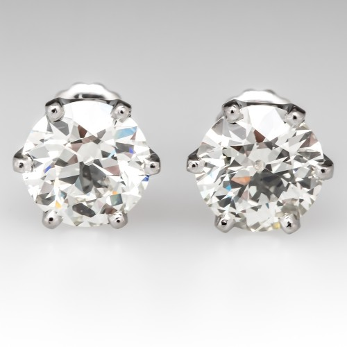 3.92CTW Old European Cut Diamond Stud Earrings Platinum Crowns