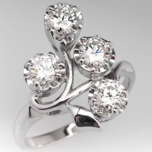 1.32CTW Vintage Floral Diamond Cluster Ring 14K White Gold