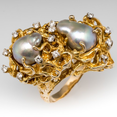 Massive Vintage Organic Motif Tahitian Pearl & Diamond Cocktail Ring 14K