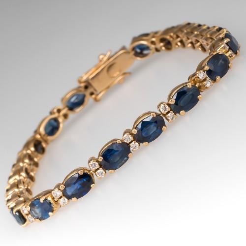 Blue Sapphire & Diamond Vintage Tennis Bracelet 7-Inch 18K Gold