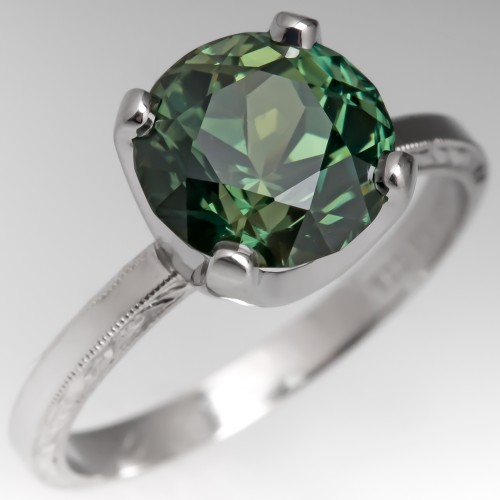 No Heat 4 Carat Rich Green Sapphire Engagement Ring Platinum