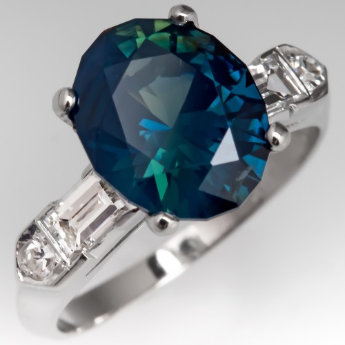 3.8 Carat Rich No Heat Teal Sapphire Engagement Ring 1950's Platinum Mount