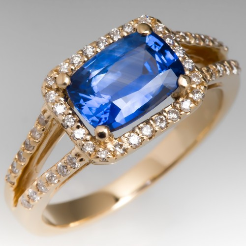 Violet Blue Sapphire & Diamond Halo Ring 14K Gold