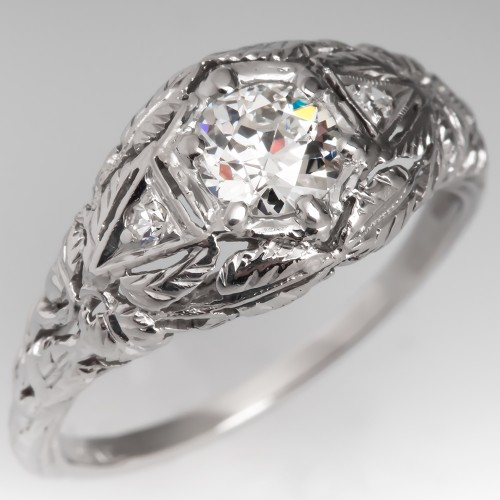 Floral Antique Filigree Engagement Ring Old Euro Diamond Platinum