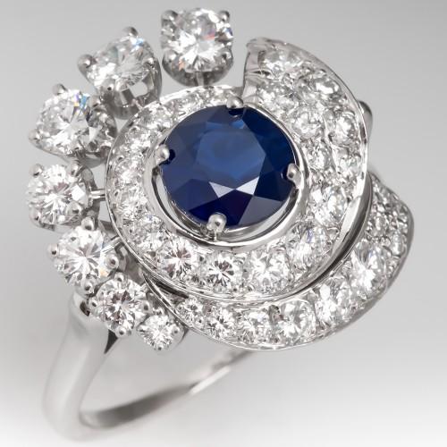Vintage Dark Blue Sapphire & Diamond Low Profile Cocktail Ring Platinum