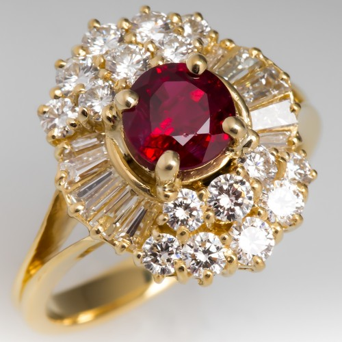 Vintage 1 Carat Deep Red Ruby Ring w/ Diamonds in 18K Yellow Gold