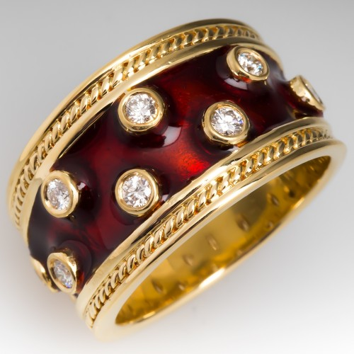Wide Band Diamond & Red Enamel Ring 18K Gold, Size 8