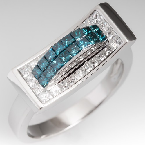 Estate Blue & White Diamond 14K White Gold Ring