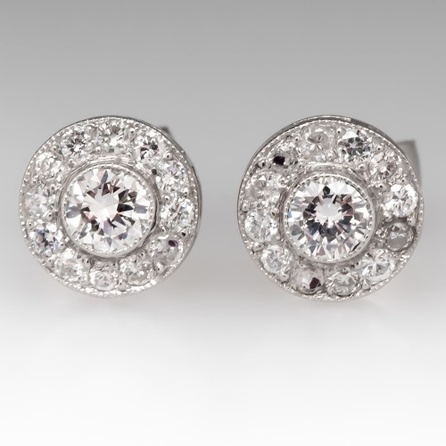 Beautiful Platinum Diamond Halo Stud Earrings