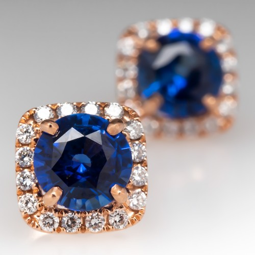 Electric Blue Sapphire Diamond Halo Stud Earrings 14K Rose Gold